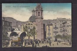 CPA ESPAGNE - ALCOY - Plaza De La Constitucion - TB PLAN Place CENTRE VILLAGE Jolie ANIMATION + Kiosque - España