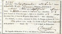 Bière 1806 - Onhaye, Mise à Feu Sous Une Chaudière - Documenti Storici
