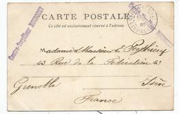 INDOCHINE 10C SAIGON CARTE + GRIFFE CONTRE TORPILLEUR MOUSQUET 1905 - Indochine (1889-1945)
