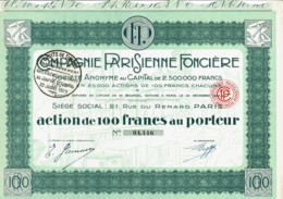 75-PARISIENNE FONCIERE. Action Décorée. - Actions & Titres