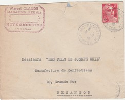 Enveloppe Commerciale 1946 / Marcel Claude / Magasins Réunis / 88 Moyenmoutier / Vosges - France