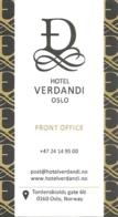 Carte De Visite - Hotel Verdandi - Oslo - Visiting Cards