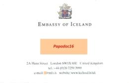 Carte De Visite - Embassy Of Iceland - London - [Ambassade D'Islande, Londres] - Visiting Cards