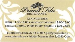 Carte De Visite - Prima Fila Ristorante - Oslo - [restaurant - Ill. : Venise] - Visiting Cards