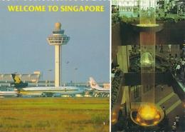 WELCOME TO SINGAPORE Internationale Aerodrome Airport Aeroport, Plane , Old Photo Postcard - Aerodromi