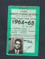 R A T P CARTE ETUDIANT 1964/65 - Cartes