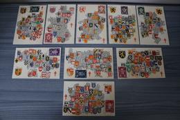 Série De 9 CM Armoiries Des Provinces Belges - Les 9 Provinces De Belgique - 1945 - Timbres 716/24 - FDC - Cartes-maximum (CM)