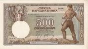 Serbia Under German Occupation 500 Dinara 1942.  P-31 Germany Deutschland (0185-949) - Serbie