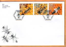 Croatia 2019 Y FDC Fauna Bees Animals Insects Postmark Zagreb 21.03. - Kroatien