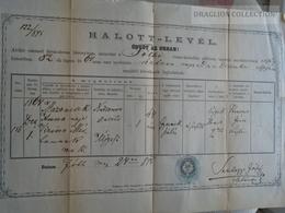 ZA183.14  Old Document  Hungary  -FÓT Fóth - 1875 - Anna MAZONCSEK -Somhegyi József Lelkész - Décès