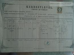 ZA183.16  Old Document  SLOVAKIA  Iža  Izsa  1888 - Eszter JUHÁSZ - Ludovicus- Mária MARKOVICZ - Pongrácz Ferenc Lelkész - Naissance & Baptême