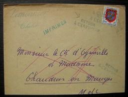 Cholet 1953 Lemonnier Lettre Pour Chaudron En Mauges Avec Retour à L'envoyeur - Marcophilie (Lettres)