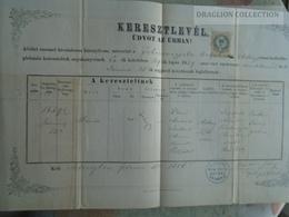 ZA183.17  Old Document  Hungary  ADONY - Mária SZEDLÁK - 1886  - Koller János Apát Plébános - Naissance & Baptême