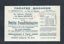 CDV CARTE THÉATRE MOGADOR PARIS RUE DE MOGADOR PAPIER FIN : - Visiting Cards