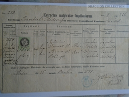 ZA183.21  Old Document  Hungary-Romania Banat Temesvár MÓDOS - Josephus DÖRNER - 1871 - Naissance & Baptême