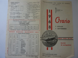 """Pieghevole """"NAVIGAZIONE LAGO DI GARDA ORARIO 1968 7 Luglio - 1 Settembre"""" - Dépliants Touristiques"""