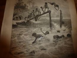 1883 JdV : Jeu Du Ririki Aux îles Fidji; Chasse Au Tigre En Inde Et Indochine;etc  (document En Très Mauvais état) - Boeken, Tijdschriften, Stripverhalen
