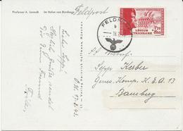 CARTE POSTALE 1943 AVEC TIMBRE A SURTAXE 1 FR 20 + 8 FR 80 LEGION TRICOLORE - Postmark Collection (Covers)