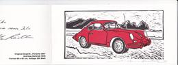 Carte Postale Double -  Porsche 356 - Illustrée Par Andreas Hentrich Et Signé - 1978 - Autographes