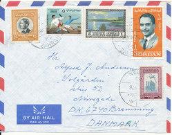 Jordan Air Mail Cover Sent To Denmark 28-4-1976 Multi Franked - Jordan