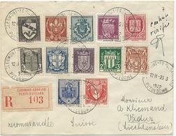 LETTRE RECOMMANDEE 1942 AVEC SERIE COMPLETE DE 12 TIMBRES ARMOIRIES DE VILLES - Postmark Collection (Covers)