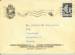 Finland Cover Sent To Denmark Helsingfors 23-8-1952 Single Franked CHESS Stamp - Finlande