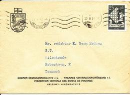 Finland Cover Sent To Denmark Helsingfors 23-8-1952 Single Franked CHESS Stamp - Lettres & Documents