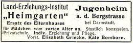 """Original-Werbung/ Anzeige 1910 - """"HEIMGARTEN"""" - JUGENHEIM AN DER BERGSTRASSE / GRIECK / BOMBORN - Ca. 65 X 25 Mm - Werbung"""