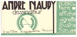 ANDRE NAUDY  DESSINATEUR  DESSIN PUBLICITAIRE.AFFICHE.VIGNETTE....PARIS - Visiting Cards