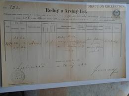 ZA185.4  Old Document  Hrvatska Croatia  Kapronca   Koprivnica - 1871 - Josef PIKULIK - Naissance & Baptême