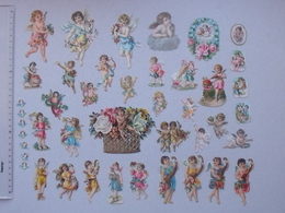 CHROMO DECOUPIS: ANGE Lot 36 Différents Tous Formats - Angelot Arrosoir Cupidon Religieux Religion Fleur Nuage Musicien - Angeles