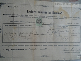 ZA185.5  Old Document  Slovakia  - Levoča Lőcse - Leutschau - 1870 - Naissance & Baptême