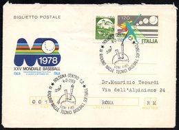 ITALIA BOLOGNA 1989 - IV RADUNO NAZIONALE TECNICI BASEBALL SOFTBALL - BIGLIETTO POSTALE VIAGGIATO - Baseball