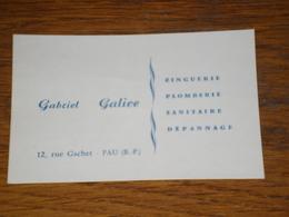 Carte De Visite Gabriel Galice, Zinguerie Plomberie Sanitaire Dépannage à Pau - Visiting Cards