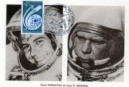 Carte 1er Jour  Soyouz 14   ( 4-9--1974)-  Pavel Popovitch Youri P. Artiukin. - Espace