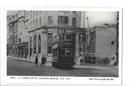 21671 - London Tram 599 At London Bridge 08.04.1951 Pamlin Prints Croydon 1960 - London