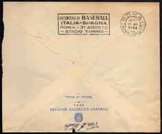 ITALIA 1952 - PRIMO INCONTRO DELLA NAZIONALE AZZURRA DI BASEBALL - ROMA: ITALIA Vs. SPAGNA - BOLLO IN ARRIVO - Baseball