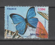 FRANCE / 2010 / Y&T N° 4497 : Papillon Morpho Bleu - 2ème Choix : Pli à G - Cachet Rond - Gebraucht