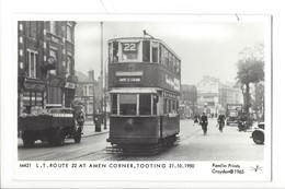 21672 - London Tram  Route 22 At Amen Corner Tooting 21.10.1950 Pamlin Prints Croydon 1965 - London