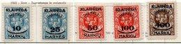 13 - LITUANIA MEMEL KLAIPEDA 1922 , Unificato Serie N. 102/106  Nuova *  (2380A) . - Lituania