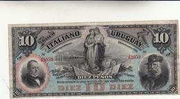 Banconota Da 10 Pesos, El Banco Italiano Dell' Uruguay. Montevideo 1887 Piega Ma Integra E Non Comune - Uruguay