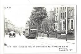 21673 - London West Norwood Tram At Shakespeare Road 26.05.1951 Pamlin Prints Croydon 1973 - London