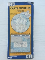 CARTE ROUTIERE MICHELIN SUR TOILE N° 59 ST BRIEUC - RENNES . ANNEES DEBUT 1950. - Cartes Routières