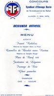Menu  Déjeuner Officiel Concours Du Syndicat D'élevage Bovin Rethel - Menus