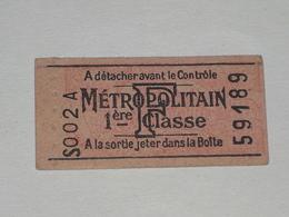 """Ancien Ticket De Metro """" F """" 1ère Classe. Non Poinçonné. - Tram"""