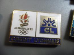 Pin's ALBERTVILLE 1992 Jeux Olympiques D'hiver J.O FRANCE Pub Banque Crédit Lyonnais @ PINS 30 Mm X 20 Mm - Jeux Olympiques