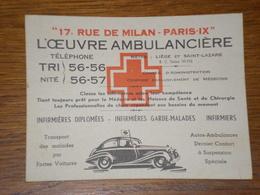 Carte De Visite L'oeuvre Ambulancière à Paris - Visiting Cards