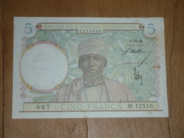 5 Francs AOF 1-10-1942 Bon état - Bankbiljetten
