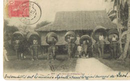Laos-Un Groupe D'Eléphants  L-écrite 1906 Par Chef Du Bureau Militaire Garde Indigène-Recto Verso-Paypal Sans Frais - Laos