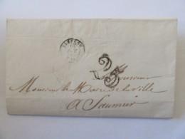 Lettre Du Maire D'Alençon Vers Celui De Saumur - Chiffre Taxe 25 + Cachet Bleu Mairie D'Alençon - 1850 - 1849-1876: Classic Period